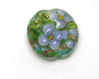 Lampwork focal bead - Pretty as a Daisy - lavender, violet, floral lampwork bead, goldstone, green, single lampwork bead