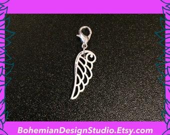 Angel wing bracelet charm, silver wing clip charm, angel wing zip pull, princess fantasy jewellery, bohemian design jewelry