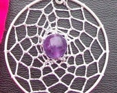 SALE AMAZING AMETHYST Dreamcatcher with amethyst, Sterling silver, dream catcher necklace, silver dreamcatcher necklace, Amethyst silver
