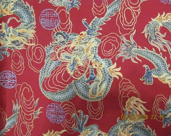 Marianne of Maui Hawaiian Quilting Fabric Golden Dragons on Royal Scarlet Bolt
