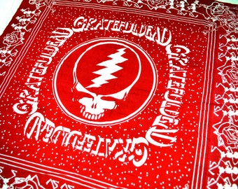 RARE Vintage Grateful Dead Productions Bandana - Steal Your Face SYF Red Scarf Wall Hanging Collectible - #B13