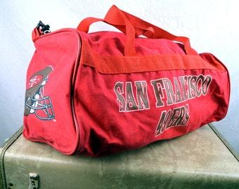 Vintage 80s Red San Francisco 49ers NFL Team Sports Duffel Bag Tote