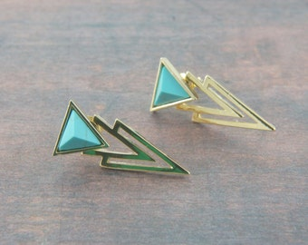 triangle gold and turquoise color ear jackets, double sides earrings,  stud earrings, thunder, December birthstone, trendy, trending, uni