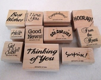Stampin Up Rubber Stamps 11 Piece Lot  PHRASES / SAYINGS 1992