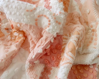 """Vintage Chenille Baby quilt made in shades of peach, coral and white - crib size 30"""" x 50"""" - #900-21"""