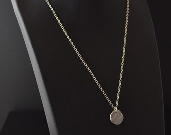 Hammered sterling disc on simple chain