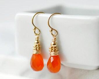 Gold Carnelian Earrings / Orange Gemstone Earrings / Small Orange Dangles / French Wires / Carnelian Jewelry