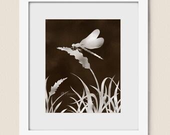 5 x 7 & 8 x 10 Printable Art, Digital Dragonfly Download, Brown Wall Decor, Printable Dragonfly Wall Art, Digital Download, Downloadable Art