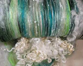 Atomic Greens Wild Card Bling Batt for spinning and felting (4.8 ounces) batt, art batt