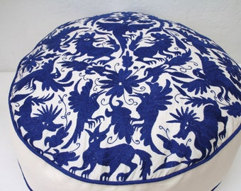 Cobalt Pouf and Beige  Pouf  Ready to ship original Floor Cushion