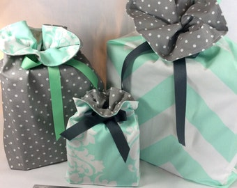 Reusable Gift Bags / Gift Bags with Ribbon Tie / Fabric Gift Bag / Set of 3 / Mint and Gray/ Favor Bags / Storage Bags