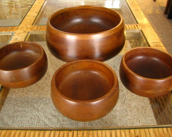 SALE Vintage Hellerware Wooden Bowl Dining Set - large serving bowl and 3 smaller bowls