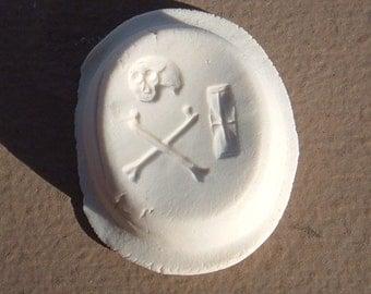 Georgian Memento Mori Skull with Crossbones and Tempus Fugit Resin Wax Seal Reproduction Replica