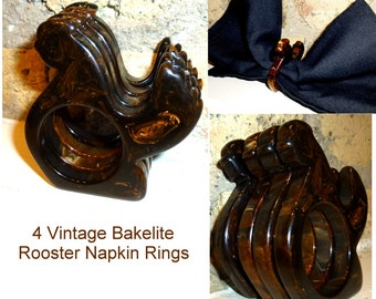Set of 4 Bakelite Napkin Rings. Figural Roosters. Rich Chocolate Swirl. Crib Toy, Napkin Ring, or Crafting. 1940s.