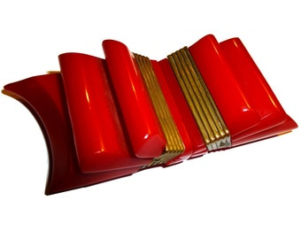 Bright Red Carved Bakelite Ribbon Belt Buckle.  1940s. Stunning Collectible.