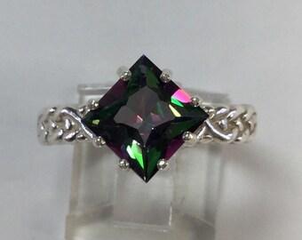 Braided shank Mystic Topaz Ring