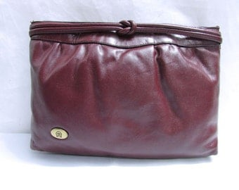 Vintage Etienne Aginer Burgundy Soft Leather Clutch Handbag
