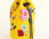 Yellow wool felt MINI bucket, sling shoulder bag, handmade