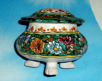 VINTAGE GUBBIO 3 FOOTED Italian pottery cm Biagioli jar with lid,ceramic,red,green,mustard,rust,blue,brown