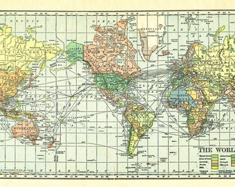 Colorful world map available as a  file  download.  Digitally altered 1909 image in pastel colors.  Use for background images or decoupage.