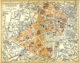 1900s Paris street map 6th arrondissement. Jardin du Luxembourg. Printable download.  Paris rive gauche pastel  map for background image.