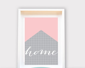 Home Grid, Printable Art, Wall Decor, Instant Download