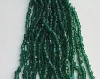 Vintage Czech Cut Glass Beads - Green - 1 hank