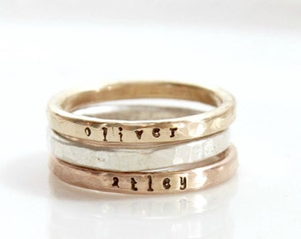 Set of Stacking Rings, mixed metals, Gold Filled Name Stacked Ring, Personalized Hand Stamped Ring, Custom Mom Ring, Kids Skinny Name Ring