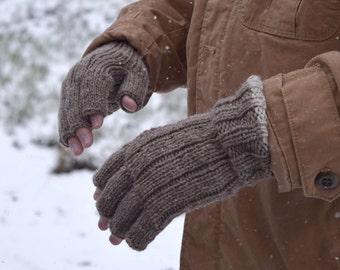 Men's fingerless gloves - natural colors - gift for him - Christmas