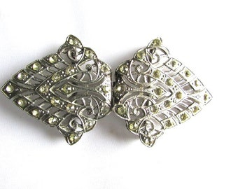 Art Deco Rhinestone Sash Buckle Pin Brooch Assemblage Costume Design Bridal Similar Dress Clips