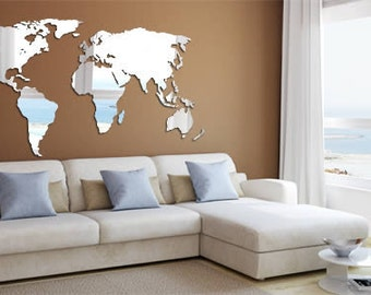 World Map Acrylic Wall Mirror