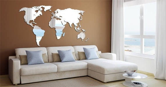 World map acrylic wall mirror for Black and white world map wall mural