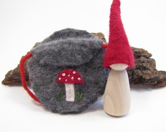 Waldorf Forest Gnome with Mushroom Pouch, Eco Friendly, Natural Wood Toy