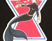 Wallet Size Black Widow Mermaid Magnet