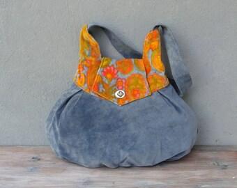 Leather and Vintage Velvet Bag Blue and Orange Tangerine