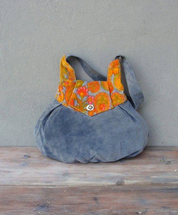 Leather and Vintage Velvet Bag Blue and Orange Tangerine