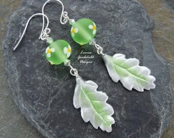 Fairy Garden earrings, green lampwork earrings, leaf earrings, daisy earrings, flower and leaf, nature inspired