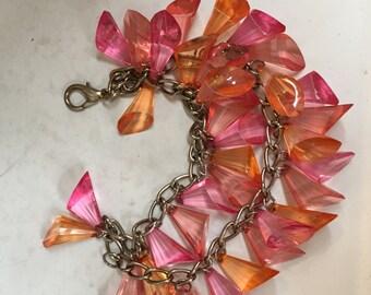 Fabulous 1980s Lucite Prisim Charm Bracelet