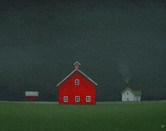 "STORMY SKY Old Red Barn Painting Farm  Small 8 X 6""  STUDY Original Landscape Folk Art Original Country Gift Rustic, Farmhouse, Night Sky"