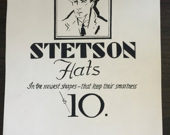 Vintage original art student illustration Stetson Hats from 1940s