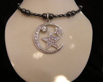 Moon and Stars Rhinestone Memory WIre Necklace