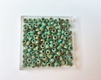 6/o Miyuki Seed Beads Color Number 4514 Opaque Turquoise Blue Picasso 15 grams