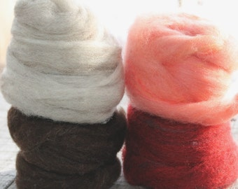 Roving - CVM, kid mohair, bamboo - 2 oz. colors of dark chocolate brown, shimmering silver, perfect pink and cranberry