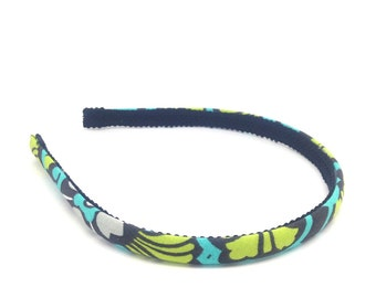Floral Skinny Headband - Charcoal Gray, White, Turquoise and Chartreuse Preppy Headband - Big Girl Headbands, Teen Headband, Adult Headband