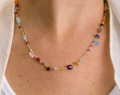 Colorful Necklace, Long Necklace Gemstone, Gem Necklace, Gemstone Long Necklace, Long Beaded Necklace, Layering Necklace, Silver and Stone
