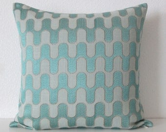 Teal, embroidery, geometric decorative pillow cover