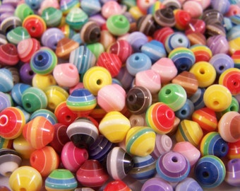 FREE SHIPPING - 105 pcs. Mixed Multicolor Striped Acrylic Bi cone Beads (#1333)