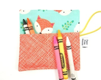 Mini Crayon Roll  - Happy Camper Fox - holds 8-10 crayons, crayon holder, kids gift, fox party, party favor