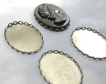 Lace Edge Settings 30x22mm Antiqued Silver Cab Sets 4 pcs Cabochon Oval Brass Stamping M-1
