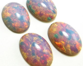 24 Fire Opal Cabochons Harlequin vintage glass 18x13mm pink S-15-P 24 pcs BULK 13